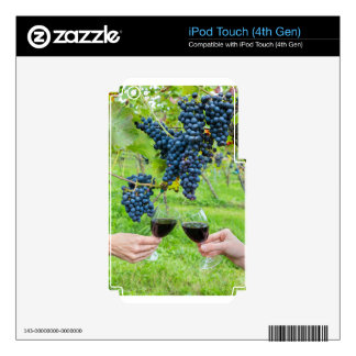 Two hands toasting with red wine near blue grapes decals for iPod touch 4G