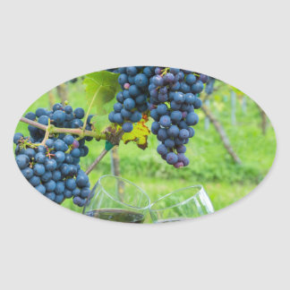 Two hands toasting with red wine near blue grapes oval sticker