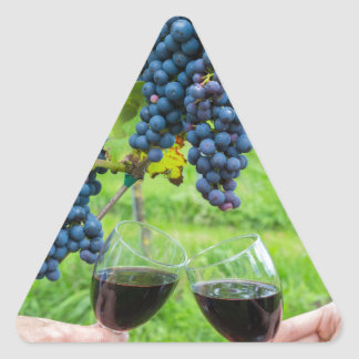 Two hands toasting with red wine near blue grapes triangle sticker