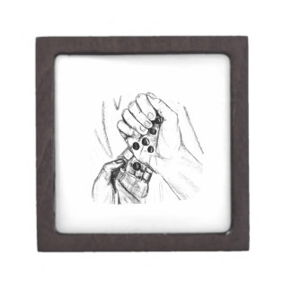 Two Hands with Marbles Pouring Pencil Sketch Keepsake Box