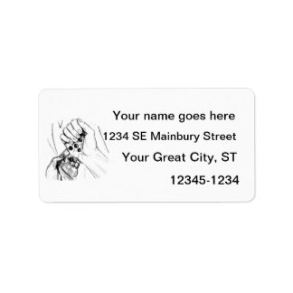 Two Hands with Marbles Pouring Pencil Sketch Address Label