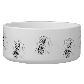 Two Hands with Marbles Pouring Pencil Sketch Dog Food Bowl