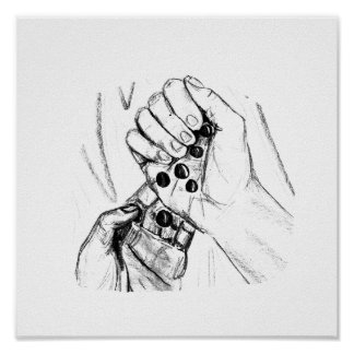 Two Hands with Marbles Pouring Pencil Sketch Poster