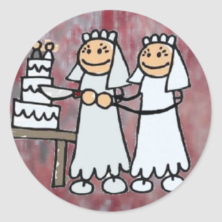 """Two Happy Brides"" Classic Round Sticker"