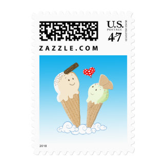 Two Happy Ice Creams In Love Stamp