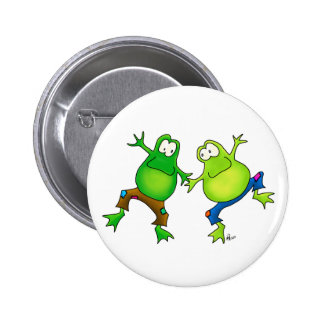 Two Happy Jumping Frog Buddies 2 Inch Round Button