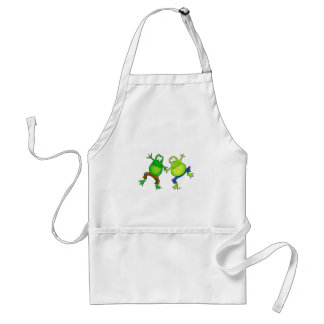 Two Happy Jumping Frog Buddies Adult Apron