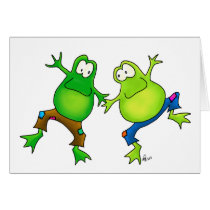 Two Happy Jumping Frog Buddies Card