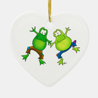 Two Happy Jumping Frog Buddies Ceramic Ornament