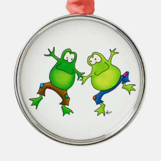 Two Happy Jumping Frog Buddies Metal Ornament