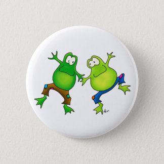 Two Happy Jumping Frog Buddies Pinback Button