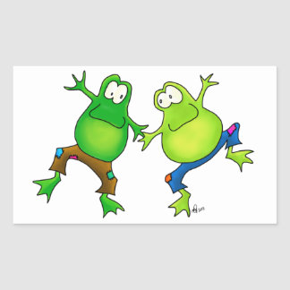 Two Happy Jumping Frog Buddies Stickers