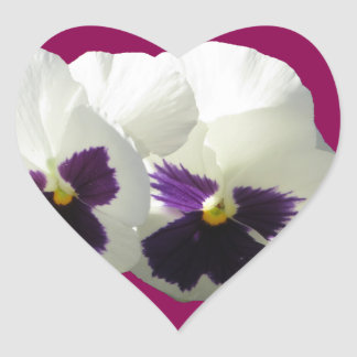 TWO HAPPY PANSIES HEART STICKER