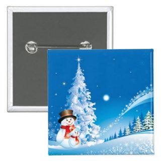 Two Happy Snowmen Pinback Button