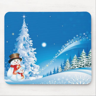 Two Happy Snowmen Mouse Pad