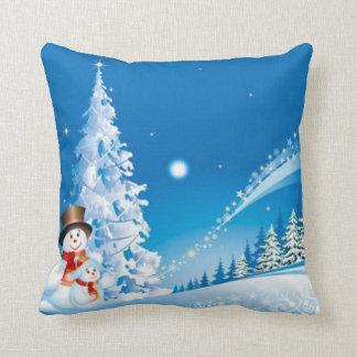Two Happy Snowmen Throw Pillow
