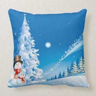 Merry Christmas Snowman Pillow