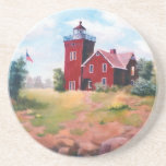 """Two Harbors Lighthouse Coaster<br><div class=""""desc"""">An original commissioned oil painting by Brenda Thour of Two Harbors Lighthouse located in Two Harbors,  Minnesota. Copyright by Brenda Thour 2004.</div>"""