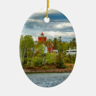 Two Harbors Lighthouse (Summer) Ceramic Ornament
