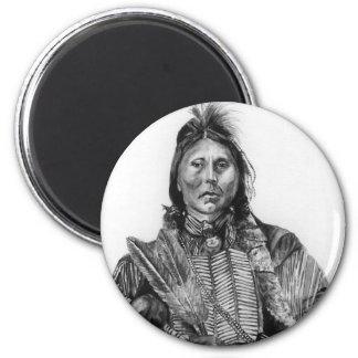 Two Hatchet, Kiowa 2 Inch Round Magnet