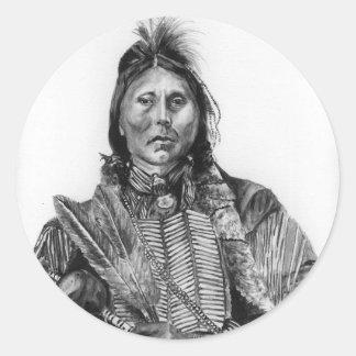 Two Hatchet, Kiowa Classic Round Sticker