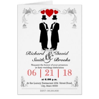 Two hats men in tuxedo with - Most gay wedding Card
