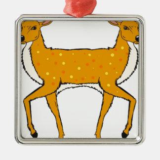 Two Headed Deer Vector Sketch Metal Ornament