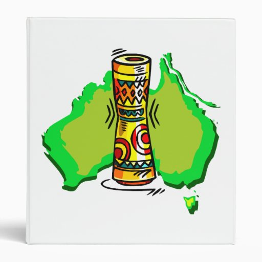 Two Headed Drum with australia map, tribal colors Binders