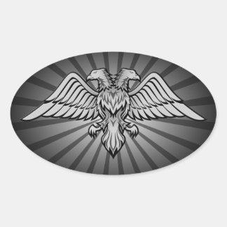 Two headed eagle oval sticker