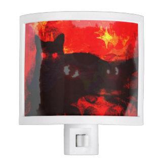 Two Headed Glowing Red Eyes Black Cat Night Light