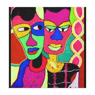 Two Heads Acrylic Oil On Canvas By Moji Okubule Canvas Print