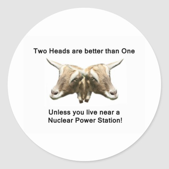 Two Heads Anti-Nuclear Logo Classic Round Sticker