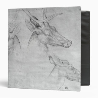 Two heads of stags, one head of a doe binders