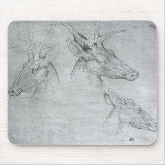 Two heads of stags, one head of a doe mouse pad
