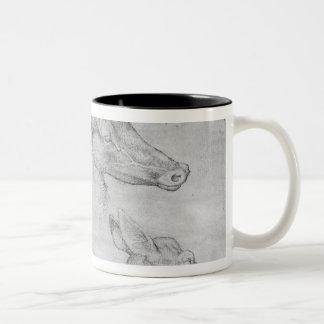 Two heads of stags, one head of a doe Two-Tone coffee mug