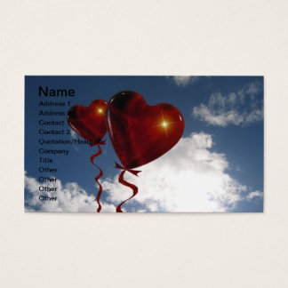 Two heart balloons in clouded sky business card
