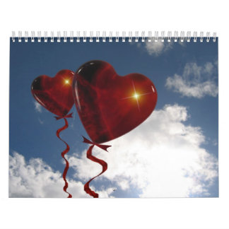 Two heart balloons in clouded sky calendar