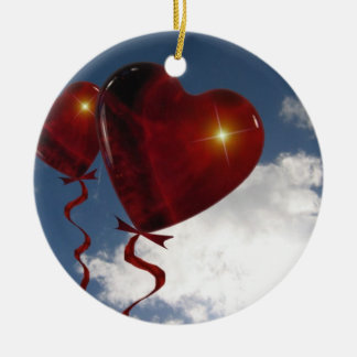 Two heart balloons in clouded sky ceramic ornament