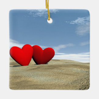 Two heart on the beach - 3D render Ceramic Ornament