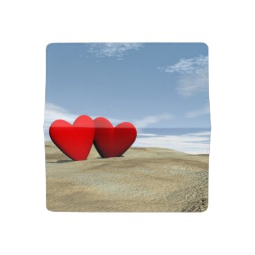 Beach Themed Two heart on the beach - 3D render Checkbook Cover