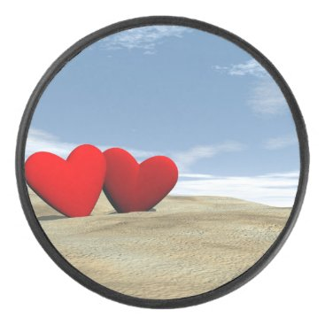 Two heart on the beach - 3D render Hockey Puck