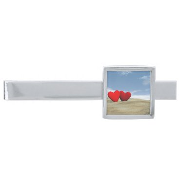 Beach Themed Two heart on the beach - 3D render Silver Finish Tie Clip