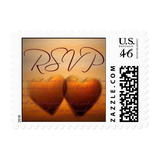Two heart RSVP - small size Postage