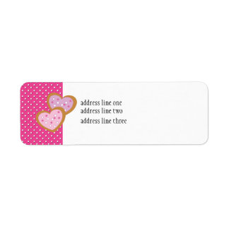 Two Heart-Shaped Cookies Return Address Labels