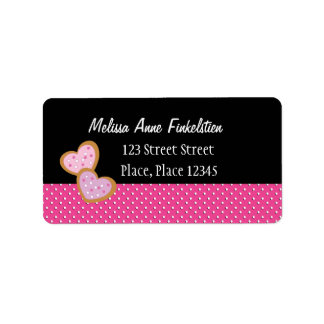 Two Heart-Shaped Cookies Personalized Address Label
