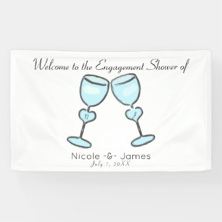 Two Heart Wine Glasses Bridal Shower Engagement Banner