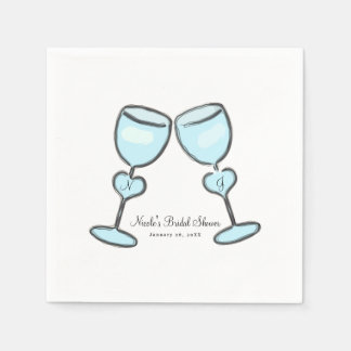 Two Heart Wine Glasses Bridal Shower Engagement Napkin