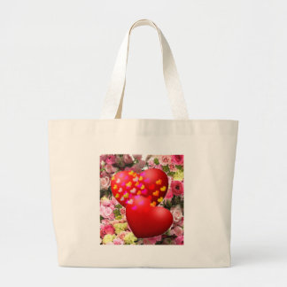 Two hearths in love large tote bag