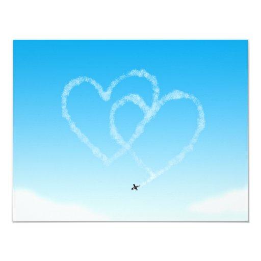 Two hearts 4.25x5.5 paper invitation card