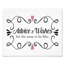 Two Hearts Advice and Wishes Bridal Shower Sign